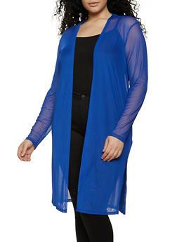 Plus Size Mesh Long Sleeve Duster - 1912058753895