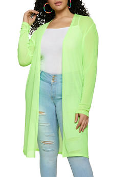 Plus Size Mesh Long Sleeve Duster - 1912058753895