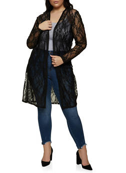 Plus Size Side Slit Lace Duster - 1912058753896