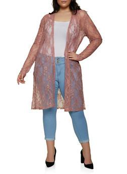 Plus Size Side Slit Lace Duster - 1912058753896