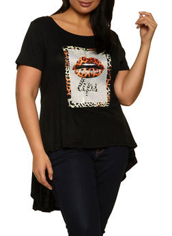 Plus Size Lip Patch High Low Tee - 1912058754098