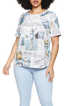 Plus Size Newspaper Graphic Tee - 1912058754139