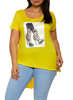 Plus Size Shoe Patch High Low Tee - 1912058754434