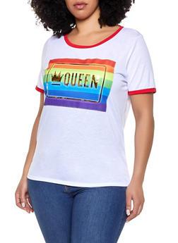 Plus Size Queen 3D Foil Graphic Tee - 1912058754828