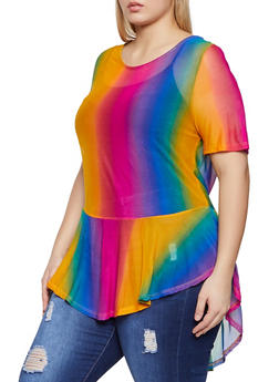Plus Size Mesh Ombre High Low Top - 1912058754854