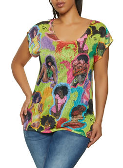 Plus Size Afro Girl Print Top - 1912058754856