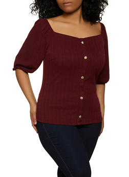 Plus Size Ribbed Knit Off the Shoulder Top - 1912058758590