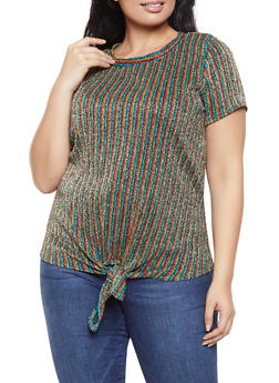 Plus Size Glitter Knit Striped Top - 1912058758674