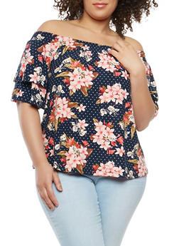 Plus Size Polka Dot Floral Off the Shoulder Top - 1912060580016