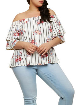 Plus Size Printed Off the Shoulder Top - 1912060580059