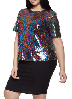 Plus Size Sequin Tee - 1912062120020