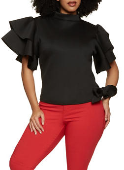 Plus Size Tie Side Bell Sleeve Top - 1912062120684