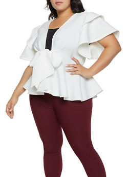 Plus Size Shadow Stripe Tie Front Peplum Top - 1912062121469