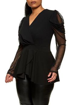 Plus Size Mesh Sleeve Faux Wrap Top - 1912062121479