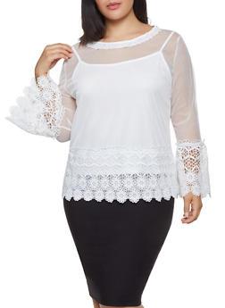 Plus Size Crochet Trim Mesh Top - 1912062121655