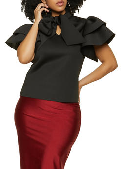 Plus Size Tiered Sleeve Tie Neck Top - 1912062121796