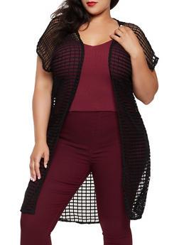 Plus Size Geometric Knit Duster - 1912062121832