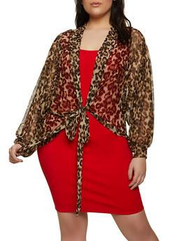 Plus Size Leopard Mesh Tie Front Top - 1912062121949