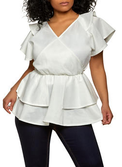 Plus Size Faux Wrap Tiered Peplum Top - 1912062122435