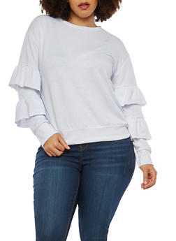 Plus Size Tiered Sleeve Sweatshirt - 1912062122602