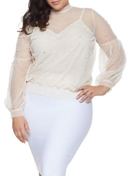 Plus Size Faux Pearl Studded Mesh Top - 1912062122619