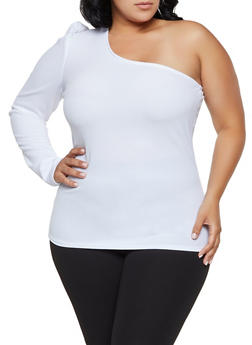 Plus Size One Shoulder Top - 1912062122748