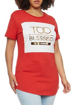 Plus Size Blessed Graphic Top - 1912062123000