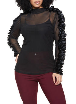 Plus Size Faux Leather Ruffled Mesh Top - 1912062124975