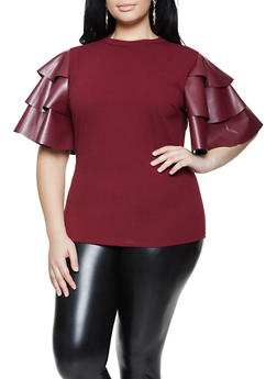 Plus Size Faux Leather Tiered Sleeve Top - 1912062125050