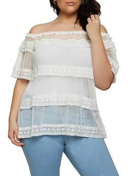 Plus Size Crochet Trim Mesh Off the Shoulder Top - 1912062125187