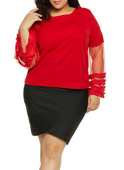 Plus Size Pleated Ruffle Mesh Sleeve Top - 1912062125799