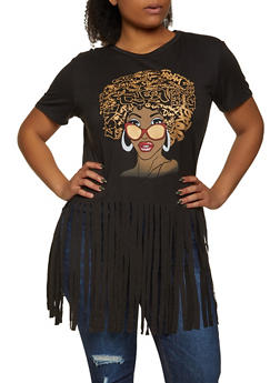 Plus Size Afro Queen Fringe Tee - 1912062126320