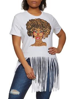 Plus Size Afro Queen Fringe Tee - 1912062126320