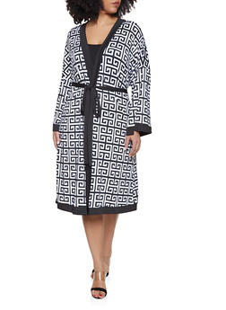 Plus Size Contrast Trim Printed Duster - 1912062127010