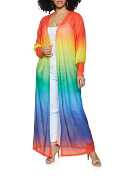 Plus Size Rainbow Ombre Duster - 1912062127115