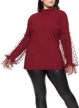 Plus Size Mesh Polka Dot Sleeve Top - 1912062127195
