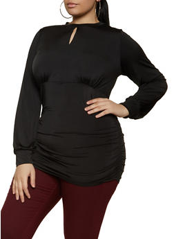 Plus Size Keyhole Ruched Side Top - 1912062127396