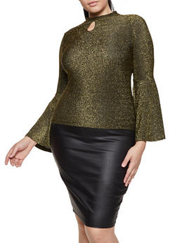 Plus Size Bell Sleeve Lurex Top - 1912062127919