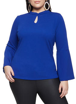 Plus Size Bell Sleeve Crepe Knit Top - 1912062127920