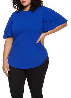 Plus Size Tiered Sleeve Round Hem Top - 1912062128800
