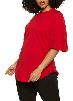 Plus Size Tiered Sleeve Round Hem Top - 1912062128800