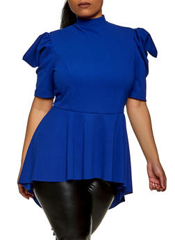 Plus Size Puff Sleeve Ruffle High Low Top - 1912062128900