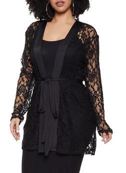 Plus Size Black Tie Waist Lace Kimono - 1912062128947