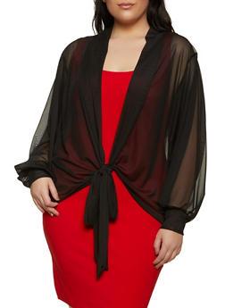 Plus Size Tie Front Dolman Sleeve Mesh Top - 1912062129491