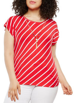 Plus Size Striped Tee with Necklace - 1912062700422