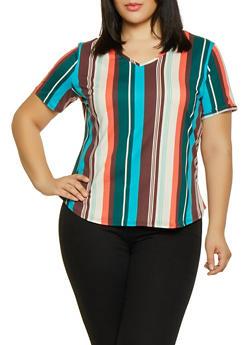 Plus Size Soft Knit Vertical Stripe Top - 1912062700730