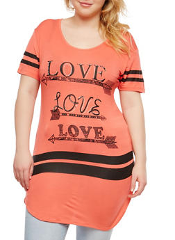 Plus Size Rhinestone Love Graphic Tunic Top - 1912062701464