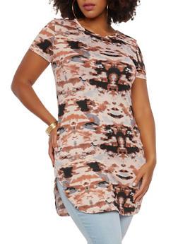 Plus Size Tie Dye Tunic Top - 1912062701465