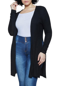 Plus Size Ribbed Knit Duster - 1912062702088