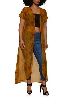 Plus Size Short Sleeve Mesh Tie Dye Duster - 1912062702089